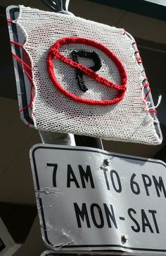 no parking yarn bomb