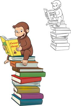 Curious George atop the stack of books tattoo