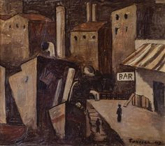 Artwork by Gonzalo Fonseca, Puerto-Bar, Made of Oil on cardboard