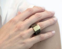 18k solid gold ring, Wire crochet ring, Gold crochet ring, OOAK crochet band, Woven metal jewelry, Knitted ring, Woven ring, Christmas gift