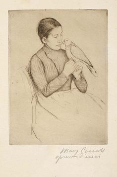The Parrot, Mary Cassat, c. 1891,original drypoint printed in dark umber ink on laid paper