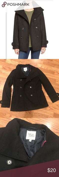 Thread & Supply Black Double Breast Wool Pea Coat Wool blend. See next to last photo for fabric content. Bought on Poshmark and unfortunately it was too small for me. I'd say it runs a little small. Excellent condition - just needs a running over with a lint roller, which I will do before I send to you! ❤️ Reasonable offers accepted via offer button only. No trades. I strive to maintain good feedback. I'm a real person. If for any reason you are unhappy with your purchase, please contact me…
