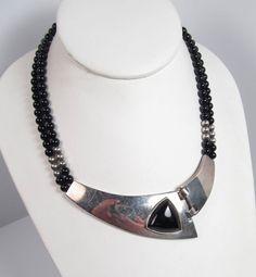 Vintage Sterling Silver Black Onyx Statement Necklace Modernist Mod 1980s N&R #Unbranded #Pendant