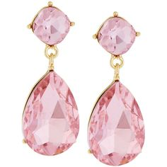 Greenbeads By Emily & Ashley Golden Crystal Double-Drop Earrings ($21) ❤ liked on Polyvore featuring jewelry, earrings, pink, crystal stone jewelry, pink earrings, post earrings, pink drop earrings and pink jewelry