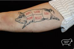 pig Tattoos | Right Foot Pig Head And Banner Tattoo