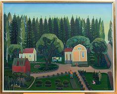 Pirkko Lepistö: Vanha kotini, 1975, öljy kankaalle, 81x100 cm - Bukowskis
