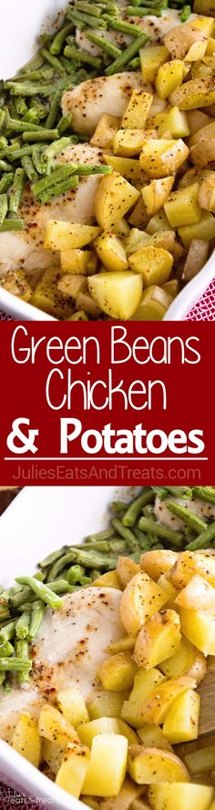 Green Beans, Chicken & Potatoes ~ One Pan Wonder Dinner That Will Be a Hit With Your Family! via @julieseats