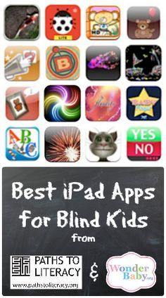A collection of 16 (mostly free!) apps perfect for kids who are blind or visually impaired. Listed in categories ranging from visual stimulation to communication and fine motor needs.