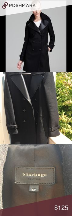 🍁SALE! Mackage black wool women coat trench Good condition very stylish) Mackage Jackets & Coats Trench Coats