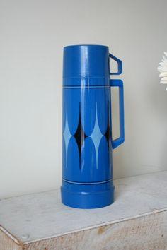 Blue Diamond Aladdin Thermos Retro Thermos by MyOliviaVintage Cobalt Blue, Recycling, Lunch Box, Conditioner, Canning, Black And White, Retro, Diamond