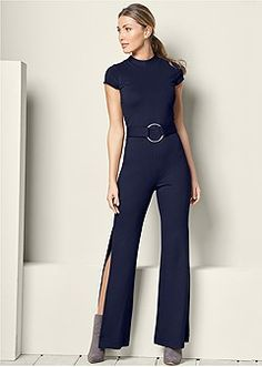 a2e97c5c1b0 Venus Women s Jumpsuit With High Slits Jumpsuits   Rompers - Blue