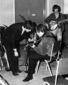 The Beatles during a Rubber Soul album recording session, 1965