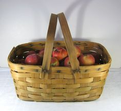 Vintage Orchard Basket Farm Rustic Picnic Patina Farmhouse 3dffa5c0b4