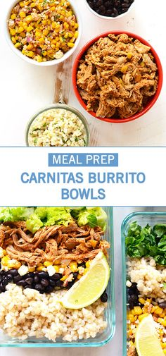 Eating healthy in the New Year is all about planning. And with this recipe for Carnitas Burrito Bowls, it's easier than you think to meal prep for a week of fresh lunches and delicious dishes! Plus, it helps that this flavorful creation has all your favorite ingredients—black beans, guacamole, brown rice, and shredded pork.