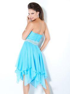 Unique A-line Sweetheart Knee-length Chiffon Beading Blue Homecoming Dresses $129.99 - Trendsget.com