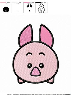 Tsum Tsum Piglet Embroidery Design by SewMyPictures on Etsy
