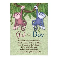 gender reveal party   Pink Blue Monkey Gender Reveal Party Invitations from Zazzle.com