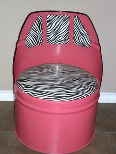 Upcycled Wild In Pink Barrel Chair by DSMetalWorks on Etsy, $80.00