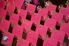 Hot Pink Place Cards with Gold Initial {H Photographers} - mazelmoments.com