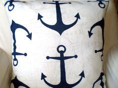 Pillows Decorative Pillows Nautical Pillows Throw Pillow Cushion Covers Dark Blue White  BOTH SIDES  - Pair of Two 18 x 18