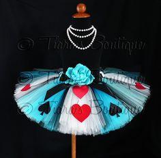 Girls Birthday Tutu, Alice in Wonderland Tutu, Alice of Hearts, A Tiara's Boutique Original Design, Custom Sewn Costume Tutu