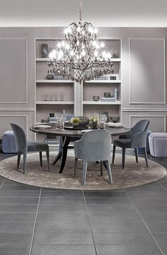Cool elegance with cream and blue by Fendi Casa. Brunello table and Audrey armchairs and to give it a spark Crystal Palais Royal Chandelier. Luxury Dining Room, Dining Room Design, Luxury Living, Dining Room Table, Dining Rooms, Classic Interior, Luxury Interior Design, Interior Decorating, Modern Interior