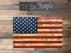 Glossy Red & Natural American Flag With Secret Compartment