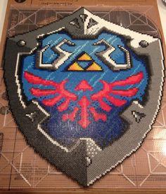 Zelda Hyrule Hylian Shield  Perler Bead Piece by apricityhats