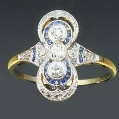Art Deco Sapphire Ring  Diamond 0.4ct by adinantiquejewellery