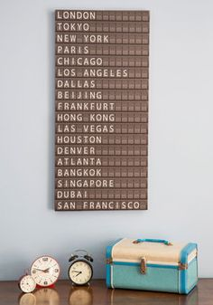 All Aboard Departure Sign ModCloth. Really fun idea for a travel inspired office, bedroom or living room. My New Room, My Room, Bedroom Themes, Bedroom Decor, Bedrooms, Decor Room, Bedroom Ideas, Travel Bedroom, Travel Room Decor