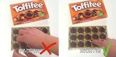 Du greifst mit deinen Fingern nach der Toffifee-Schokolade? FALSCH!
