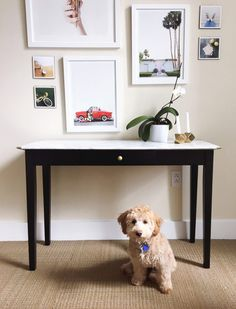 DIY Console Table Makeover with Marble Contact Paper  by OMC   oh em cee