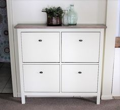This is an IKEA shoe cabinet hack with the Hemnes line. Painted to create a faux built-in look in our hallway to give a spacious appearance, yet create more storage space. Shoe Rack Hacks, Shoe Storage Hacks, Diy Shoe Rack, Storage Ideas, Shoe Racks, Storage Baskets, Small House Furniture, Space Saving Furniture, Furniture Layout