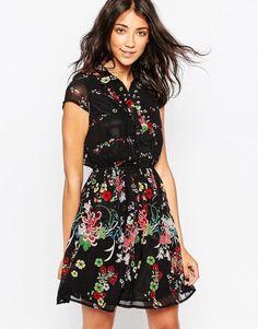 Yumi | Yumi Shirt Dress in Floral Border Print at ASOS
