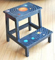 Solar System hand painted wooden STOOL - child ikea step stool by marevic on Etsy