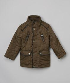 Olive Quilted Jacket - Toddler & Boys