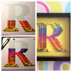 Crayon Monogram: The process Teachers Day Gifts, Presents For Teachers, Teacher Gifts, Crafts For Kids To Make, Fun Crafts, Gifts For Kids, Crayon Letter, Crayon Monogram, Diy Craft Projects