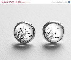 SALE Tiny Bird Earrings Post Stud Spring Jewelry by petiteVanilla