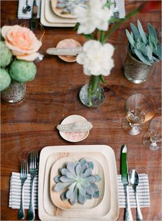 wooden plates, pink salt, artichokes, yellow glasses, eco friendly wedding ideas, eco wedding,  verterra plates, leaf plates, succulents, mercury glass, blue and white linen, rustic, mexican furniture, peach, white green, flowers Photo by AMBphoto www.ambphoto.com Styled by Catalina Bloch www.catalinabloch.com