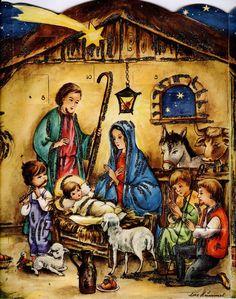 (vintage advent calendar Printed in West Germany) Print Calendar, Advent Calendars, Holy Family, Christmas Nativity, Holy Night, Holi, Vintage Christmas, Germany, Printed