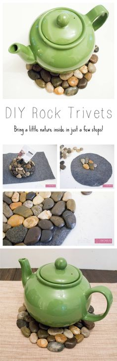 DIY River Rock Trivets- she used a piece of felt for the base, I think I'd use a piece of cork. Crafts To Sell, Easy Crafts, Crafts For Kids, River Rock Crafts, River Rock Decor, Ideas Hogar, Stone Crafts, Crafty Craft, Crafting