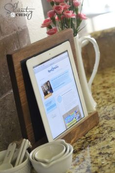How to make your own Kitchen Tablet Holder. Love this DIY idea! Less than one fourth the cost of the one at Pottery Barn ! by Shanty-2-Chic