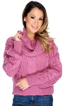 51d61459852 Mauve Long Sleeve Cable Knit Cowl Neck Oversized Sweater. Thick Sweaters ...
