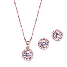 Jewelry your bridesmaids will love!  5 Sets Halo CZ Rose Gold Plated  Bridesmaid Jewelry - Affordable Elegance Bridal -