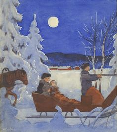 Rudolf Koivu - Joulukirkkoon Dashing Through The Snow, Sun And Stars, Water Art, Classic Literature, Paintings I Love, Winter Solstice, Vintage Christmas Cards, Nocturne, Children's Book Illustration