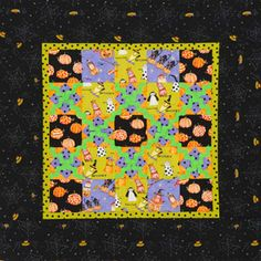 Alternate setting squares and Square-in-a-Square blocks made from the Spooktacular collection by Debbie Taylor-Kerman from Henry Glass & Co. for a festive Halloween wall hanging. Halloween Quilts, Halloween Themes, Halloween Crafts, Halloween Sewing, Pumpkin Pillows, Small Quilts, Mini Quilts, Baby Quilts, Novelty Fabric