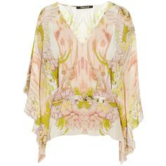 Roberto Cavalli Printed silk-georgette top ($395) ❤ liked on Polyvore featuring tops, blouses, long sleeved, orange, floral tops, roberto cavalli, floral print tops, orange floral top and long sleeve layering tops