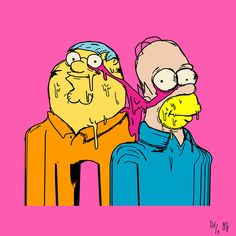 The Simpsons/Family Guy crossover The Simpsons, Family Guy, Screenprinting, Lisa Simpson, Guys, Cartoon Art, Crossover, Skate, Pop Art