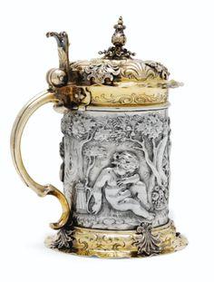 German parcel-gilt silver tankard, Ulm circa 2640.