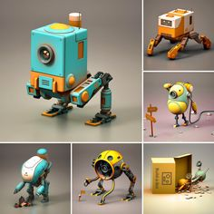 """""""Half way though and I'm up to six bots. Hoping to get to my goal of ten before the month ends. I'll be at GDC all next week so I won't be creating any new ones during that. Robot Cute, Cool Robots, 3d Character, Character Concept, 3d Modellierung, Arte Peculiar, Arte 8 Bits, Arte Robot, Robots Characters"""